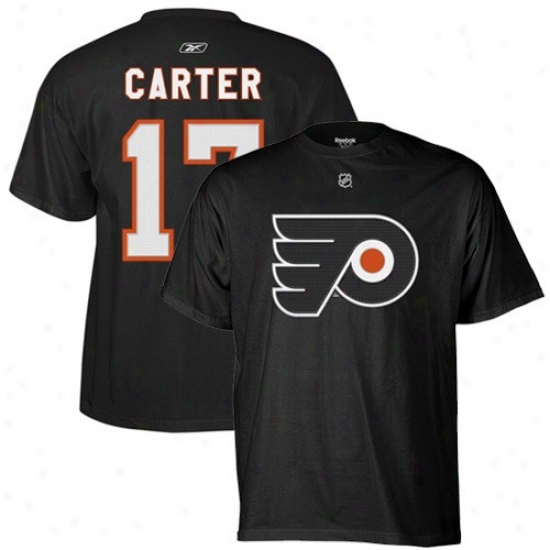Philadelphia Flyre Tshirt : Reebok Philadelphia Flyer #17 Jeff Carter Black Player Tshirt