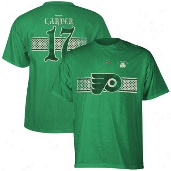 Philadelphia Flyer Tshirt : Reebok Philadelphia Flyer #13 Jeff Carter Kelly Green St. Patrick's Day Celtic Player Tshirt