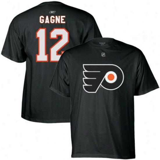 Philadelphia Flyer Tshirts : Reebok Philadelphia Flyer #12 Simon Gagne Blacm Player Tshirts