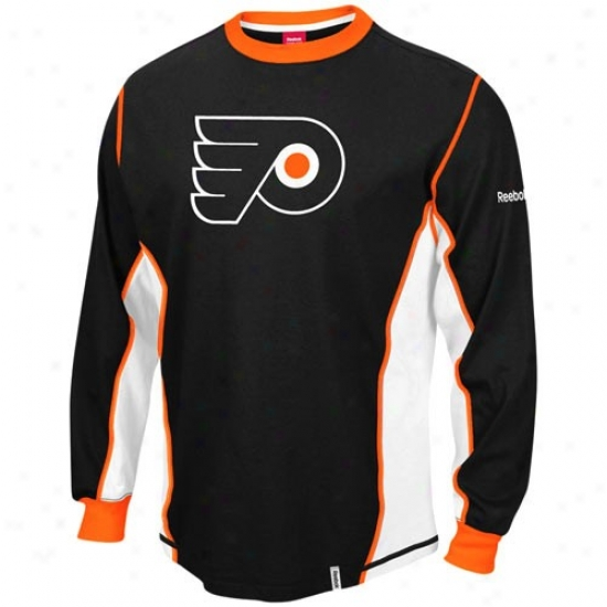 Philadelphia Flyers Apparel: Reebok Philadelphia Flyers Black Downforce Constructed Long Sleeve Premium T-shirt