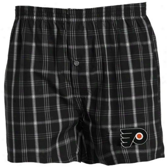 Philadelpbia Flyers Black Plaid Genuine Boxer Shorts