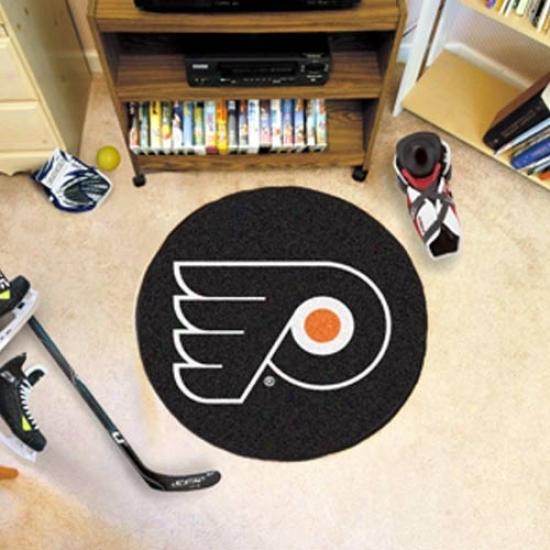 Philadelphia Flyers Black Round Hockey Puck Mat