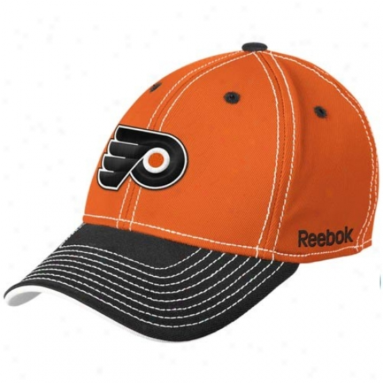 Philadelphia Flyers Gear: Reebok Philadelphia Flyers Orange-vlack Contrast Stitched Flex Qualified Hat