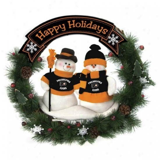 Philadelphia Flyers Happy Holidays Wreath