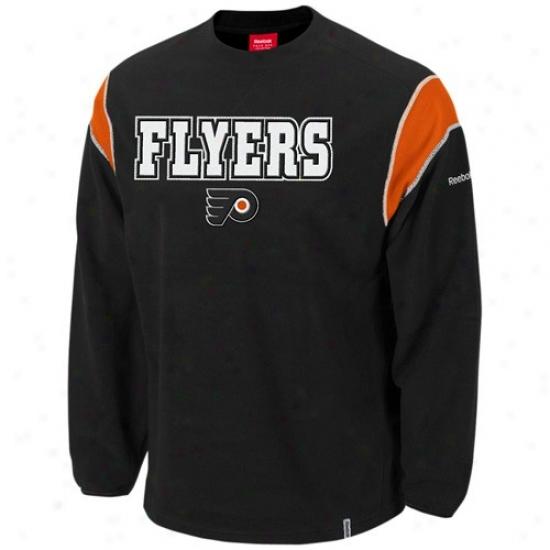 Philadelphia Flyers Hoodie : Reebok Philadelphia Flyers Black Protector Hoodie Crew Hoodie
