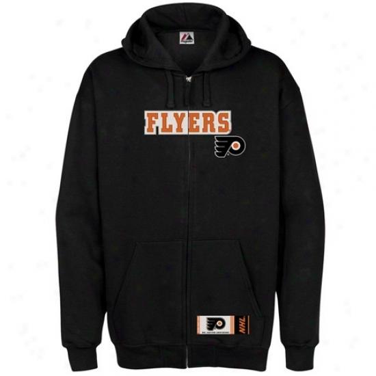 Philadelphia Flyers Jacket : Majestic Philadelphia Flyers Black Elegant Full Zip Hoody Sweatshirt