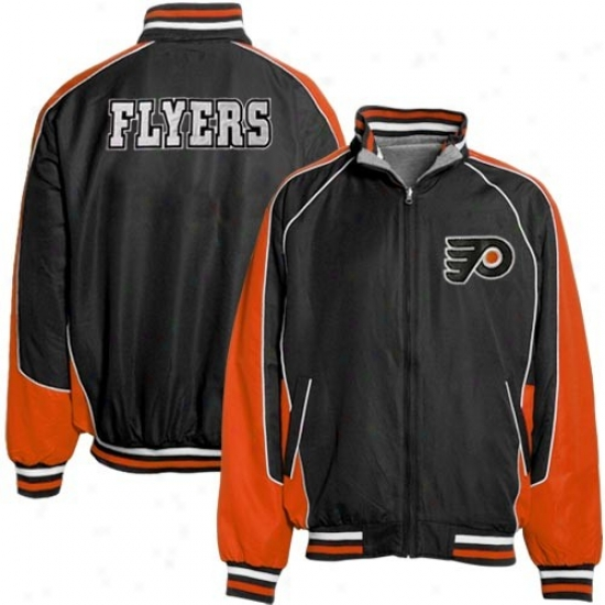 Philadelphia Flyes Jacket : Philadelphia Flyers Black-ash Ottoman Reversible Full Zip Jacket