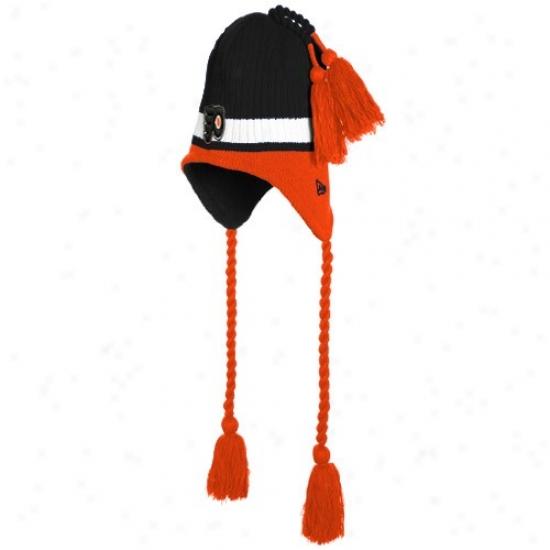 Philadelphia Flyers Merchandise: New Era Philadelphia Flyers Black Tasselhoff Knit Beanie