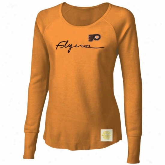 Philadelphia Flyers Shirt : Reebok Philadelphia Flyers Ladies Gold Yarn Script Waffle Stitch Long Sleeve Vintage Top