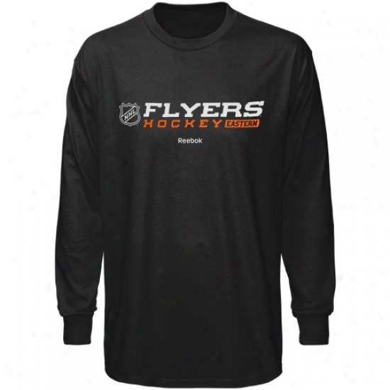 Philadelphia Flyers Shirt : Reebok Philadelphia Flyers Black Right Wing Long Sleeve Shirt