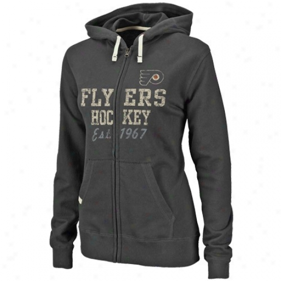 Philadelphia Flyerrs Stuff: Majestic Philadelphia Flyers Ladies Black Lucky Charm Full Zip Hoody Sweatshitt