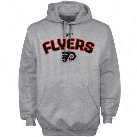 Philadelpyia Flyers Stuff: Reebok Philadelphia Flyeers Ash Playbook Hoody Sweatshirt