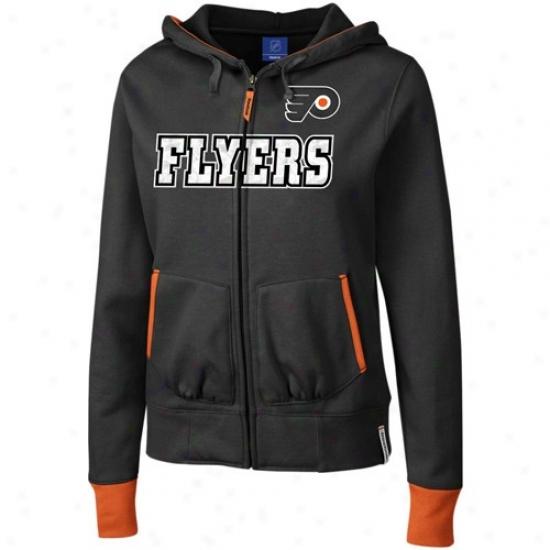 Philadelphia Flyers Stuff: Reebok Philadelphia Flyers Ladies Blzck Chant Full Zip Hoody Sweatshirt