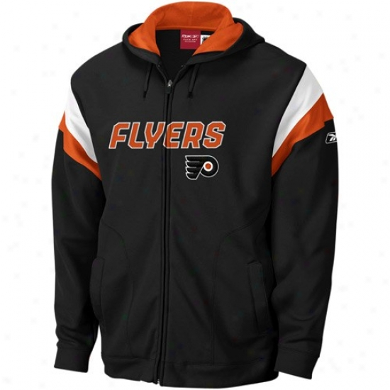Philadelphia Flyers Sweat Shirt : Reebok Philadelphia Flyers Black Top Shelf Full Zip Sweat Shirt