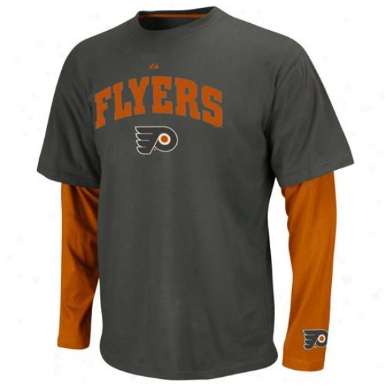 Philadelphia Flyers T Shurt : Majestic Philadelphia Flyers Charcoal-orange Official Scorer Double Stratum Premium T Shirt