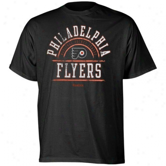 Philadelphia Flyers T-shirt : Reebok Philadelphia Flyers Black Hockey School T-shirt