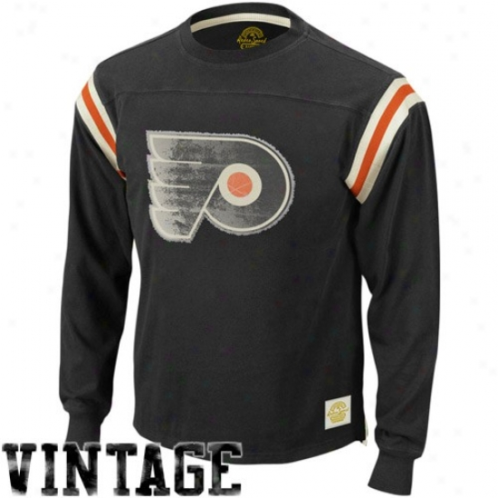 Philadelphia Flyers Tee : Reebok Philadelphia Flyers Black Whitewashed Logo Applique Long Sleeve Vintage Tee