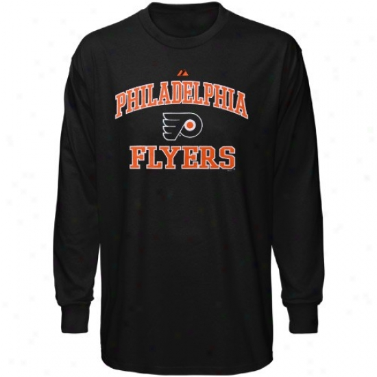 Philadelphia Flyers Tshirts : Majestic Philadelphia Flyers Black Heart & Soul Long Sleeve Tshirts