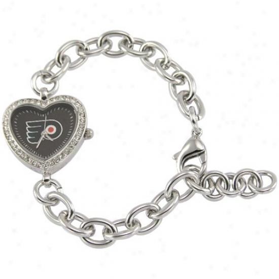 Philadelphia Flyers Watch : Philadelphia Flyeers Ladies Silver Heart Watch