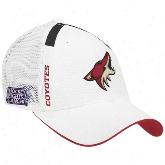Phoenix Coyote Gear: Reebok Phoenix Coyote Happy  Hockey Fights Cancer Draft Day Flex Fit Hat