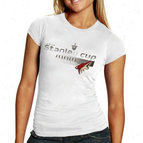 Phoenix Coyote T Shirt : Old Time Hockey Phoenix Coyote Ladies White Pearle 2010 Stanley Cup Playoffs T Shirt