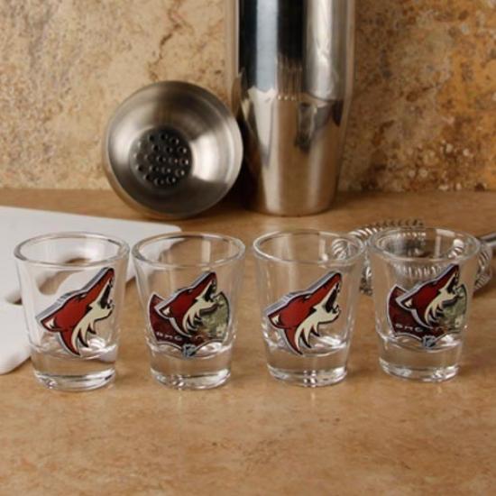 Phoenix Coyotes 4-pack Enhanced High Definition Design Shot Glass Set