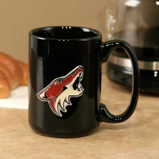 Phoenix Coyotes Black 15oz. Pewter Logo Ceramic Mug
