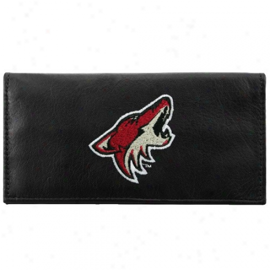 Phoenix Coyotew Black Leather Embroidered Checkbook Cover