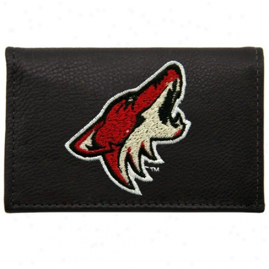 Phoenixx Coyotes Black Leather Embroidered Tri-fold Bag