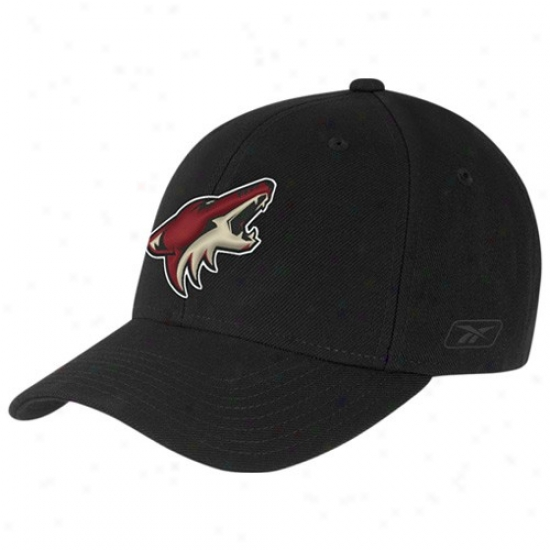 Phoenix Coyotes Gear: Reebok Phoenix Coyotew Black Basic Logo Wool Blend Adjustable Hat