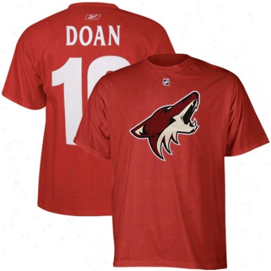 Phoenix Coyotes Shirt : Reebok Phoenix Coyotes #19 Shane Doan Red Payer Shirt