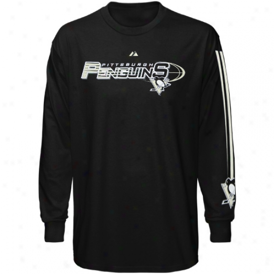Pittsburgh Penguin Apparel: Majestic Pittsburgh Penguin Ladies Black Extreme Long Sleeve T-shirt