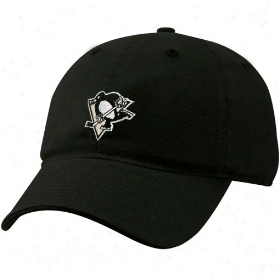 Pittsburgh Penguin Cap : Reeboi Pittsburgh Penguin Black Basic Logo Flex Fit Slouch Match