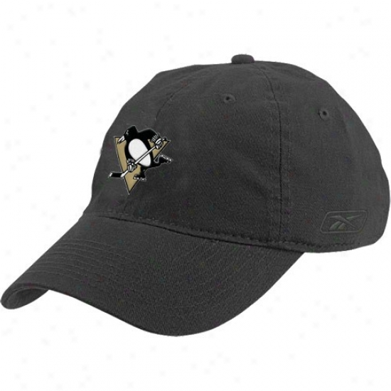 Pittsburgh Penguin Caps : Reebok Pittsburgh Penguin Black Ladies Slouch Caps
