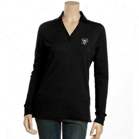 Pittsburgh Penguin Clothhing: Antigua Pittsburgh Penguin Ladies Black Fortune Long Sleeve Polo