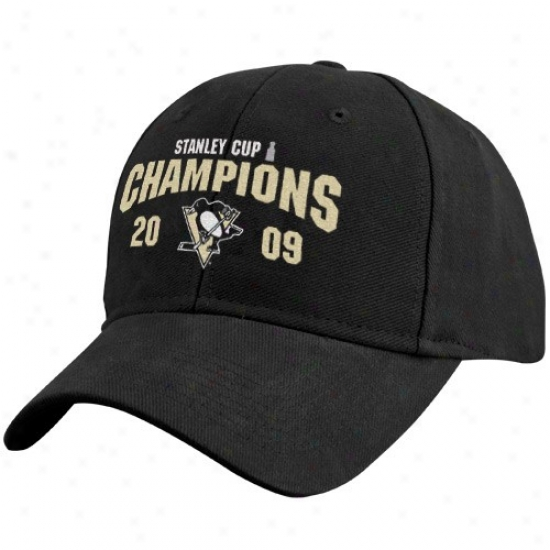 Pittsburgh Penguin Hat : Pittsburgh Penguin 2009 Nhl Stanley Cup Champions Black Structured Adjustable Hat