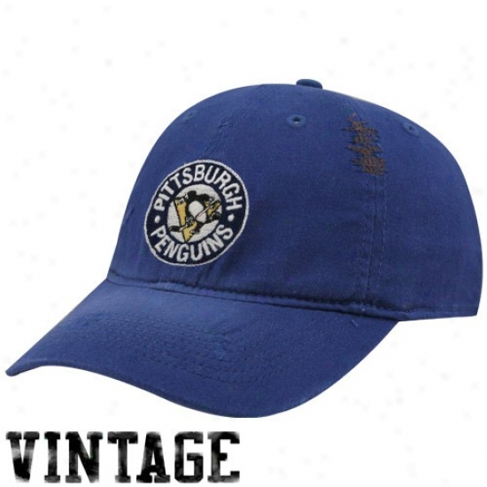 Pittsburgh Penguin Hat : Reebok Pittsburgh Penguih Royal Blue Distressed Logo Vintage Slouch Hat