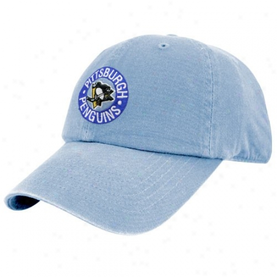 Pittsburgh Penguin Hat : Twins Enterprise Pittsburgh Penguin Light Blue Vintage Franchise Fitted Hat