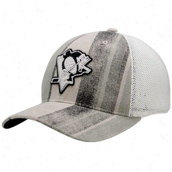 Pittsburgh Penguin Hats : Reebok Pittsburgh Penguin Gray-white Fashion Flex Fit Hats
