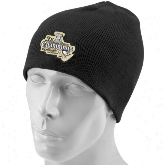 Pittsburgh Penguin Hats : Reebok Pittsburgh Penguin Black 3-time Champions Knit Beanie