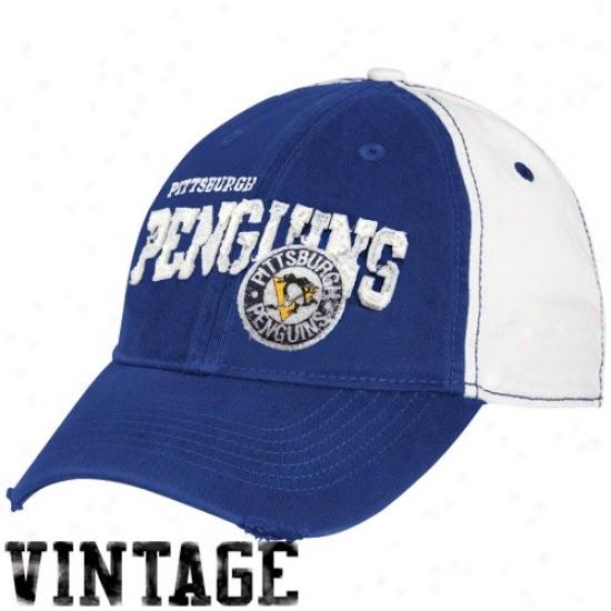 Pittxburgh Penguin Hats : Reebok Pittsburgh Penguin White-royal Blue Distressed Logo Vintage Slouch Hats