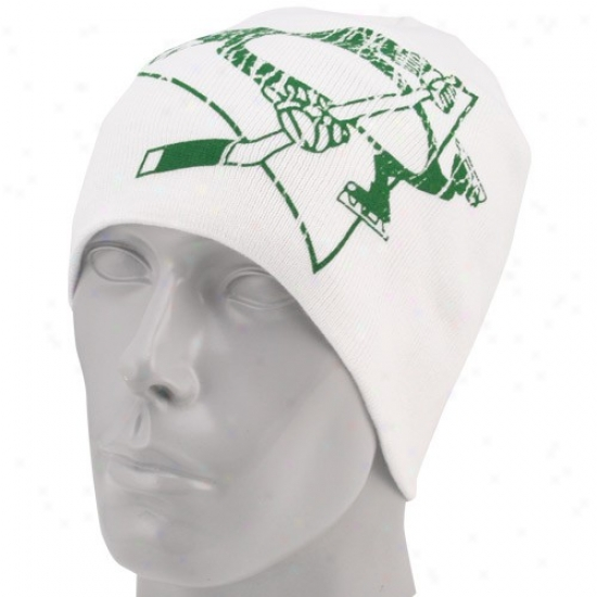 Pittsburgh Penguin Hats : Reebok Pittsburgh Penguin White St. Patrick's Day Cufflsss Join Beanie