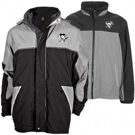 Pittsburgh Penguin Jacket : Pittsburgh Penguin Black-gray Quadrant Outer Shell Full Zip Heavyweight Reversible Jacket