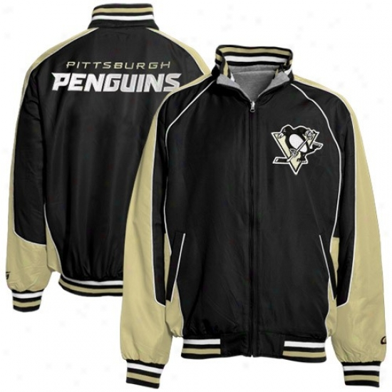 Pittsburgh Penguin Jackets : Pittsburgh Penguin Black-ash Ottoman Reversible uFll Zip Jackets
