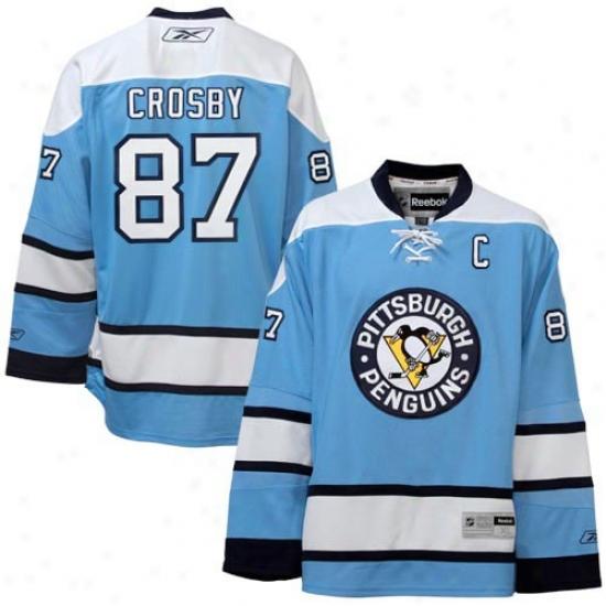 Pittsburgh Penguin Jersey : Reebok Pittsburgh Penguin #87 Sidney Crosby Buoyant Blue Premier Hockey Jersey