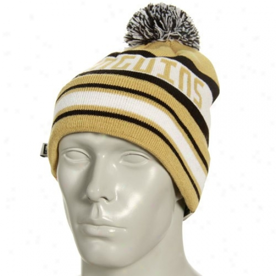 Pittsburgh Penguin Commodities: New Era Pittsburgh Penguin Gold Striped Jake Cuffed Knit Beanie