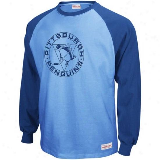 Pittsburgh Penguin Shirt : Mitchell & Ness Pittsburgh Penguin Navy Blue-blue Indifferent Zone Long Sleeve Raglan Shirt