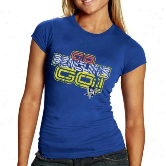 Pittsburgh Penguin Shirts : Pittsburgh Penguin Ladies Royal Blue Go Penguins Go Shirts
