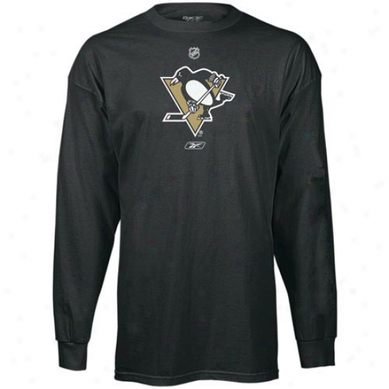 Pittsburgh Penguin Shirts : Reebok Pittsbutgh Penguin Black Primary Logo Long Sleeve Shirys