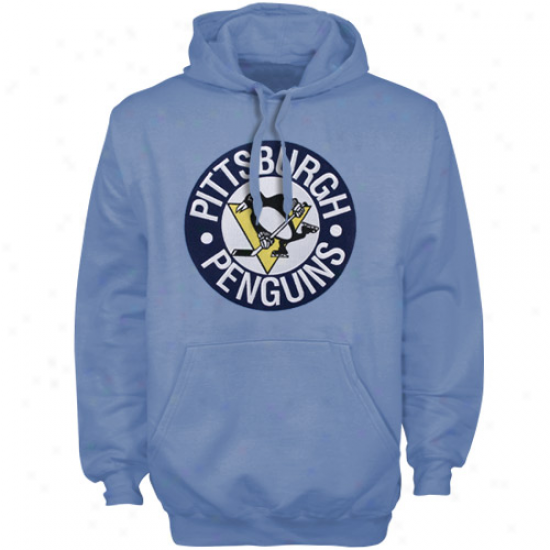 Pittsburgh Penguin Sweat Shirts : Majestic Pittsburgh Penguin Light Blue Felt Tek Patch Pullover Labor Shirts